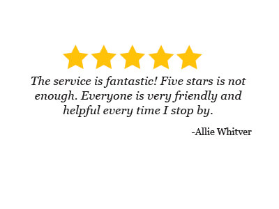 Review by Allie Whitver about the friendly staff at Mark Hansen CARS
