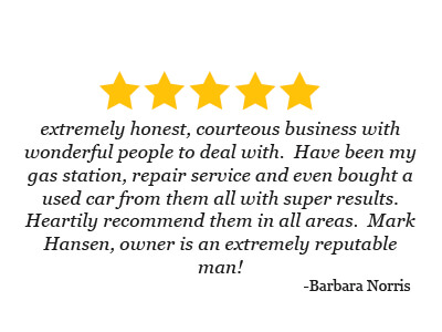 5 star review from Barbara Norris about used cars, Hansen Sinclair, and Auto Repair Services