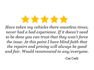 5 star review from Cer Cerb on his blind faith in the great service at Mark Hansen's CARS and the fair pricing that he would recommend to anyone
