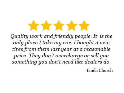 5 star review from Linda Chruch about the quality tires from friendly people at Hansen's Sinclair